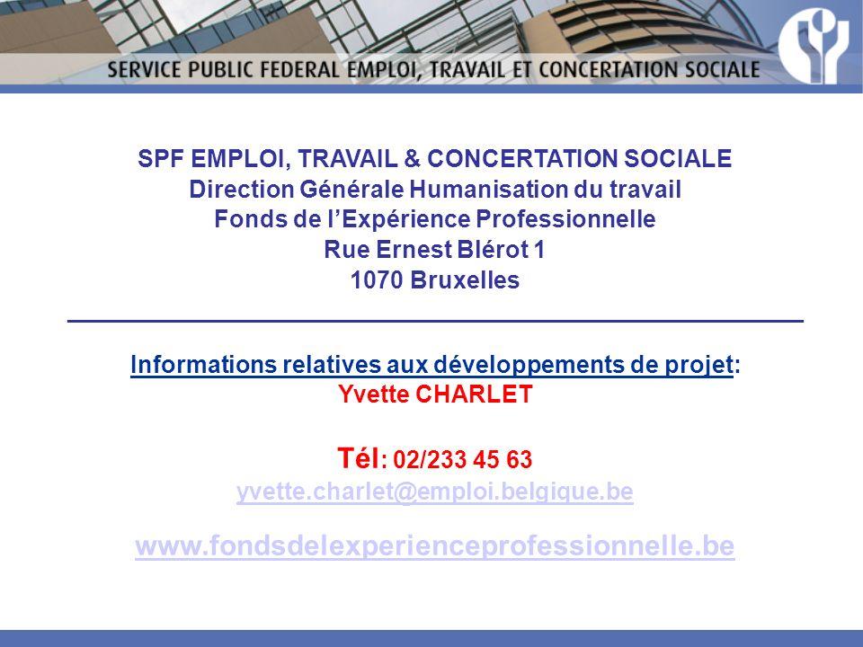 Tél: 02/233 45 63 www.fondsdelexperienceprofessionnelle.be