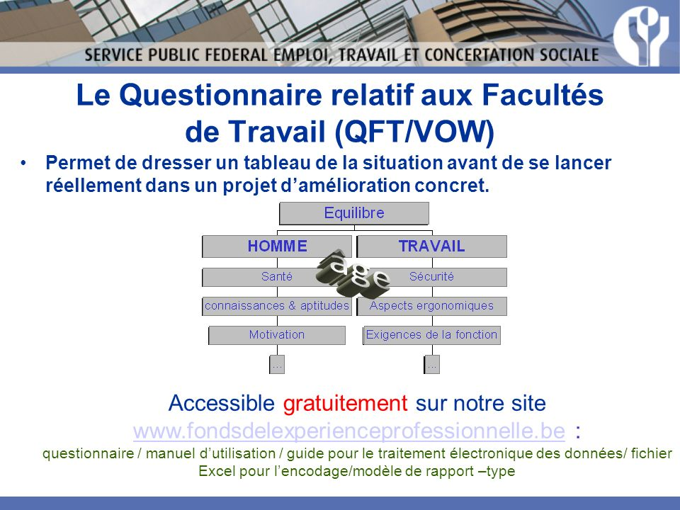 Le Questionnaire relatif aux Facultés de Travail (QFT/VOW)