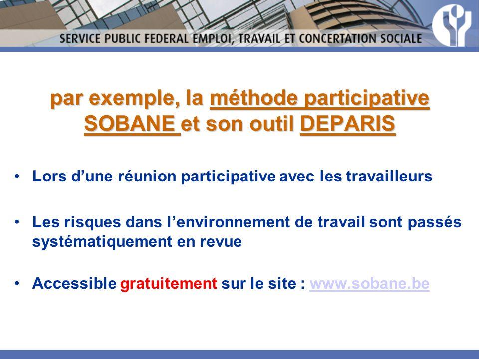 par exemple, la méthode participative SOBANE et son outil DEPARIS