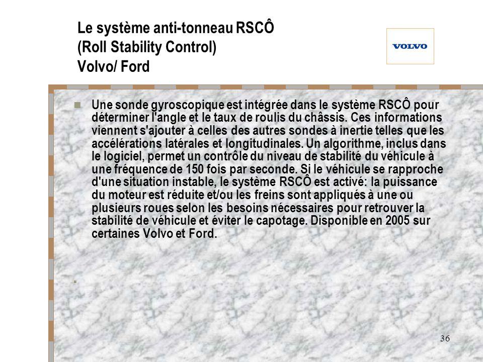 Le système anti-tonneau RSCÔ (Roll Stability Control) Volvo/ Ford