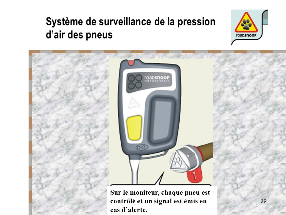 Système de surveillance de la pression d'air des pneus