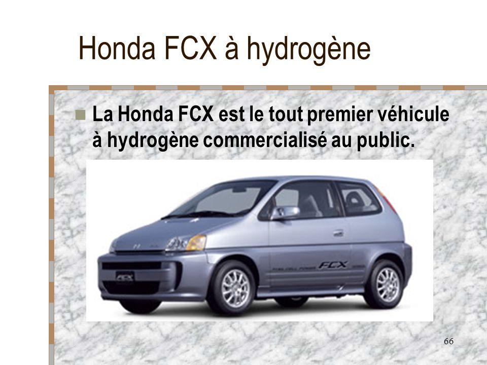 Honda FCX à hydrogène La Honda FCX est le tout premier véhicule à hydrogène commercialisé au public.