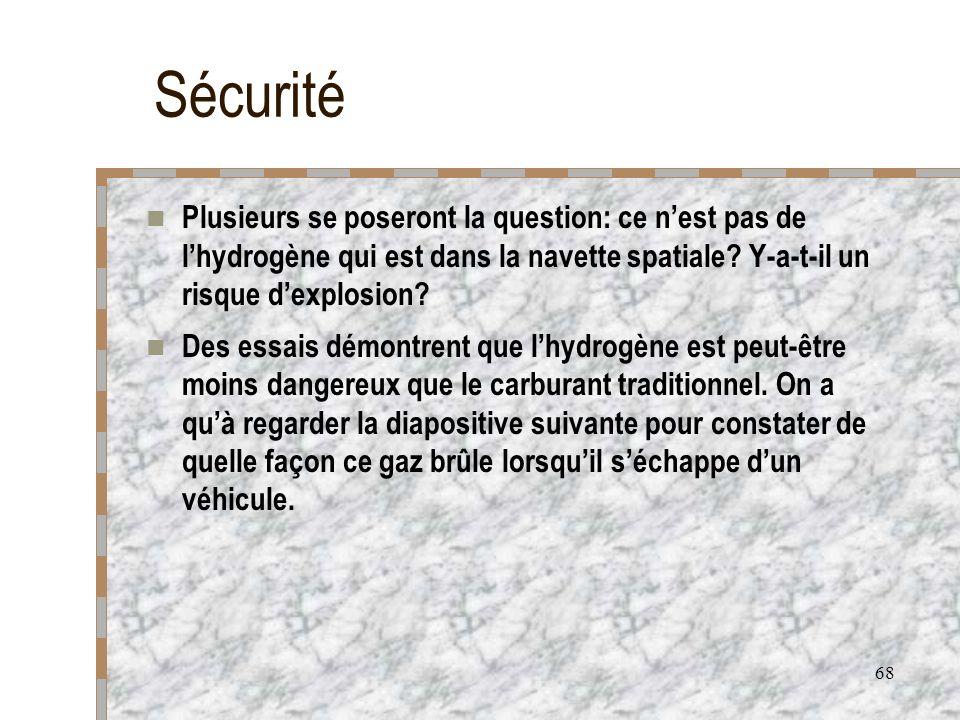 Sécurité Plusieurs se poseront la question: ce n'est pas de l'hydrogène qui est dans la navette spatiale Y-a-t-il un risque d'explosion