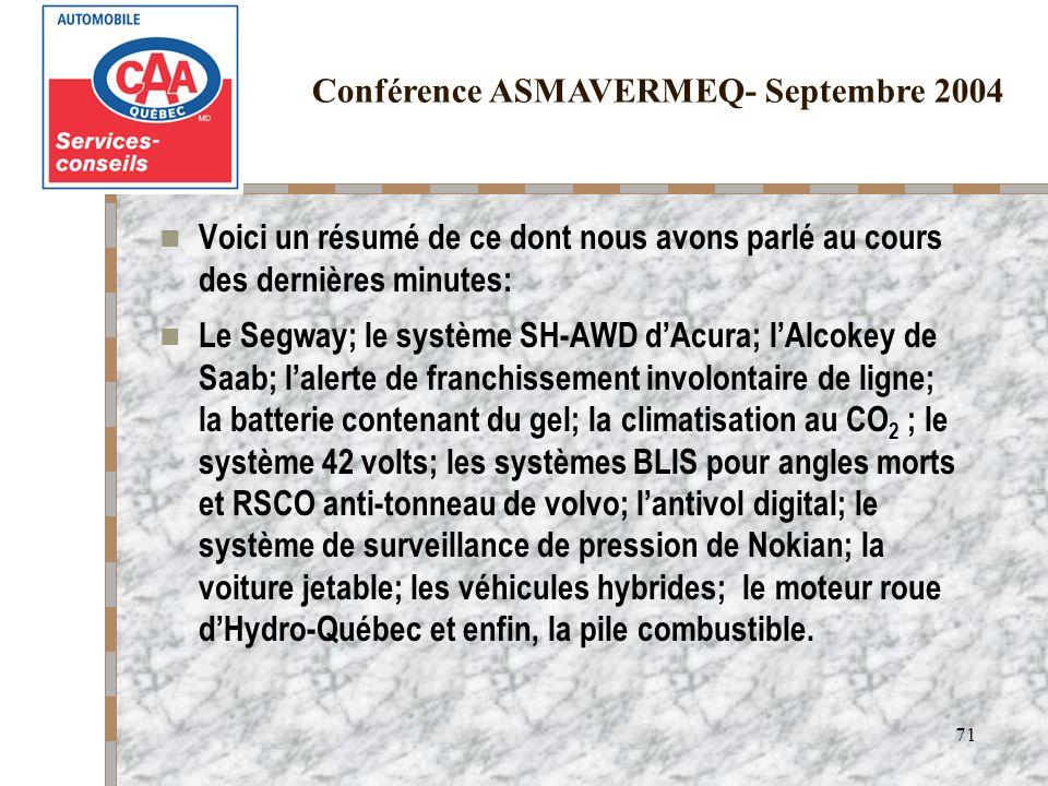 Conférence ASMAVERMEQ- Septembre 2004