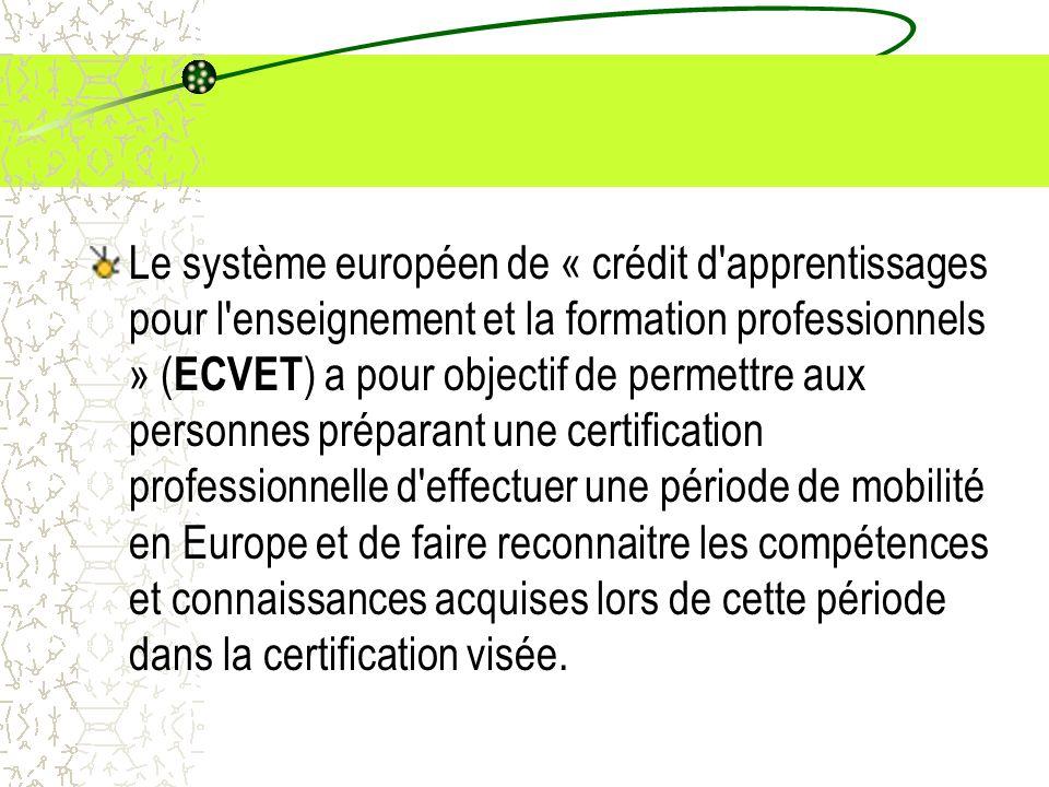Le système européen de « crédit d apprentissages pour l enseignement et la formation professionnels » (ECVET) a pour objectif de permettre aux personnes préparant une certification professionnelle d effectuer une période de mobilité en Europe et de faire reconnaitre les compétences et connaissances acquises lors de cette période dans la certification visée.