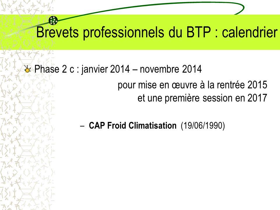 Brevets professionnels du BTP : calendrier