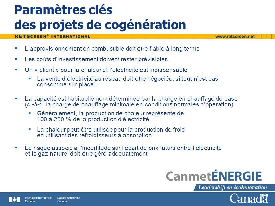 Paramètres clés des projets de cogénération