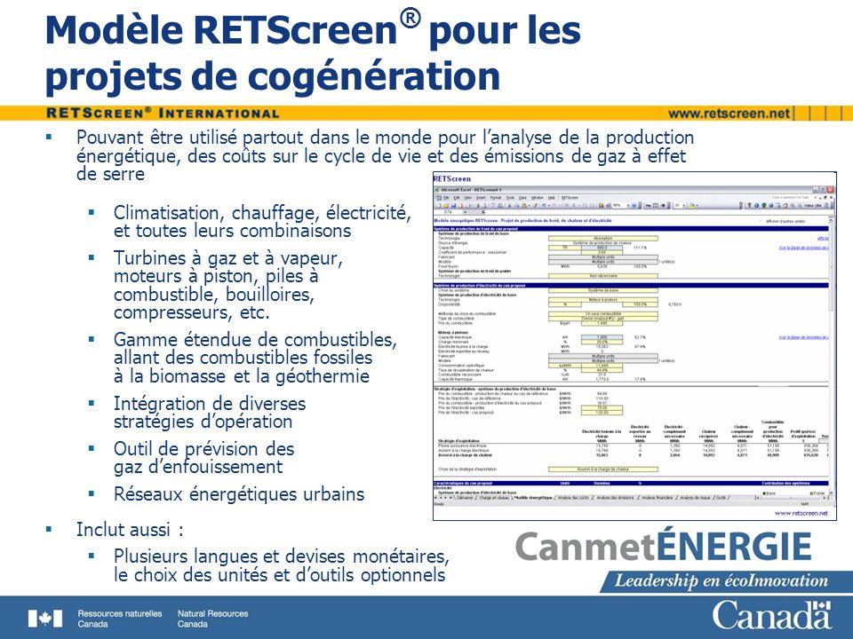 Modèle RETScreen® pour les projets de cogénération