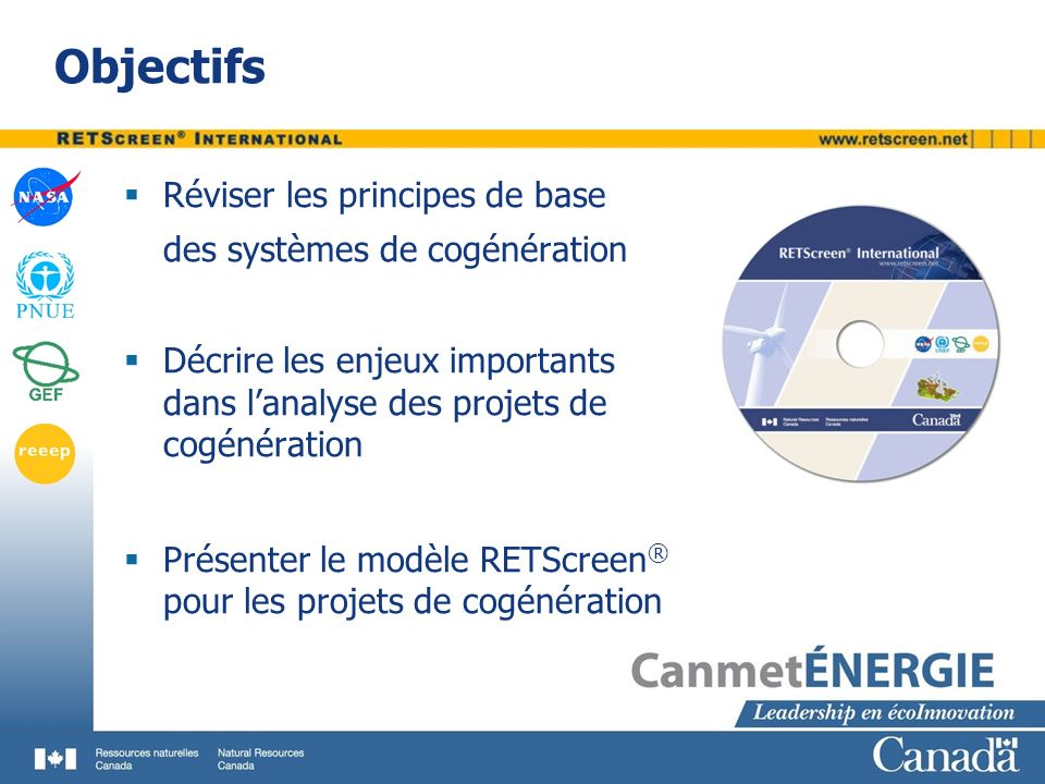 Objectifs Réviser les principes de base des systèmes de cogénération