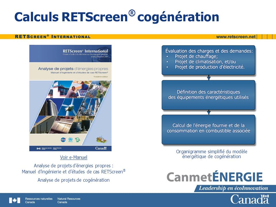 Calculs RETScreen® cogénération