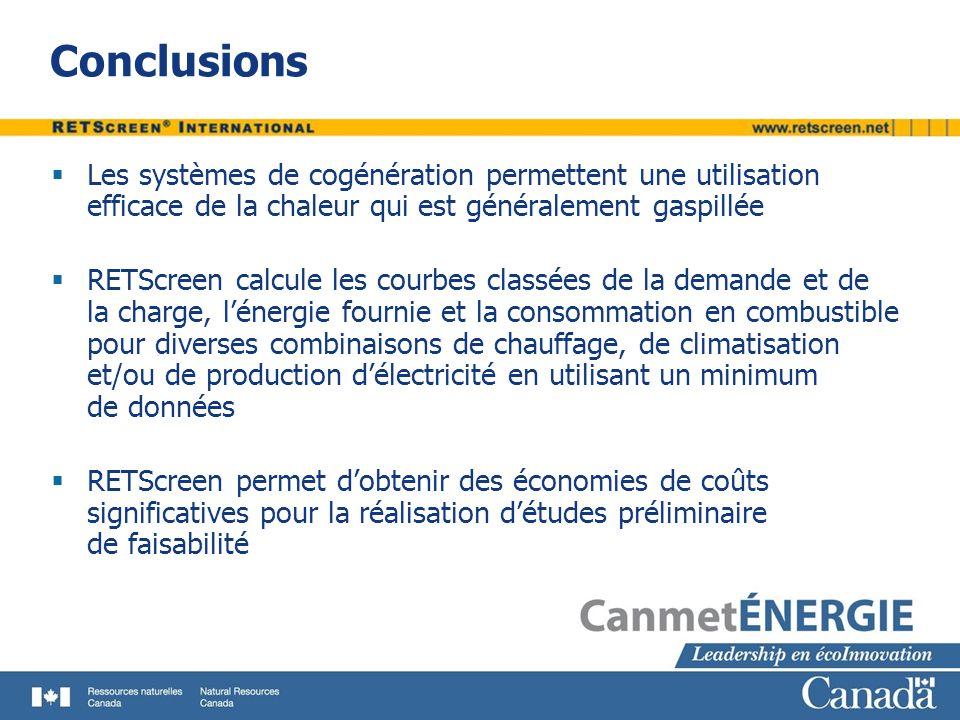 Conclusions Les systèmes de cogénération permettent une utilisation efficace de la chaleur qui est généralement gaspillée.