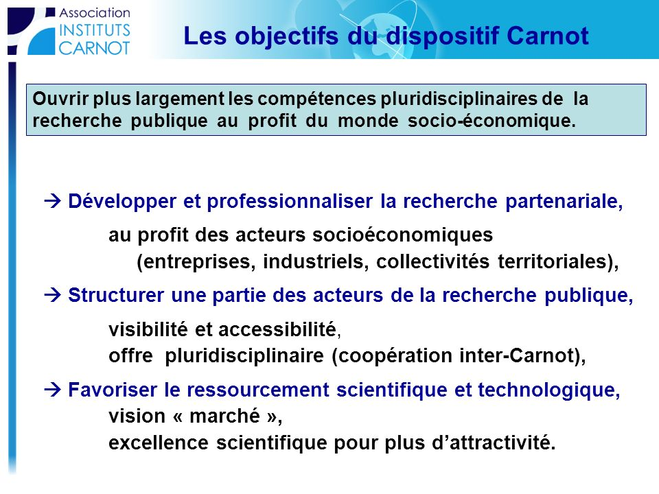 Les objectifs du dispositif Carnot