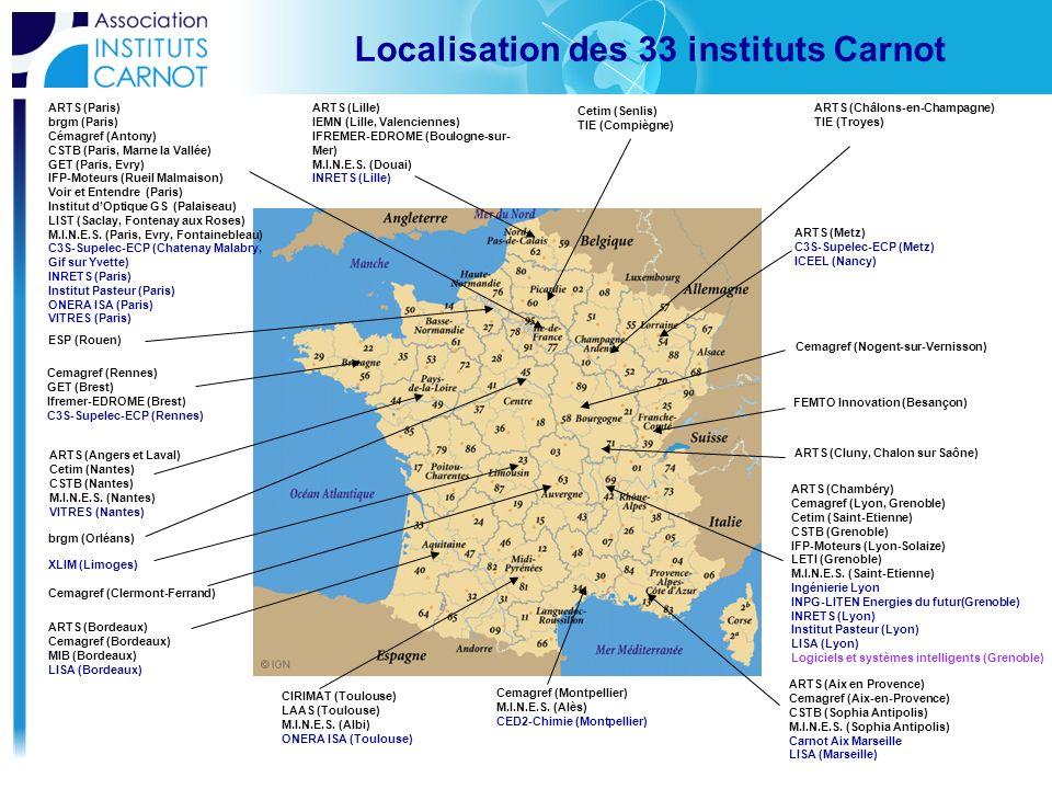 Localisation des 33 instituts Carnot