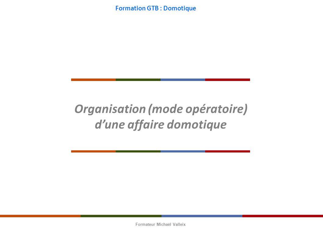 Organisation (mode opératoire) d'une affaire domotique
