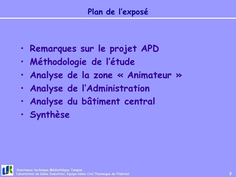 Remarques sur le projet APD Méthodologie de l'étude