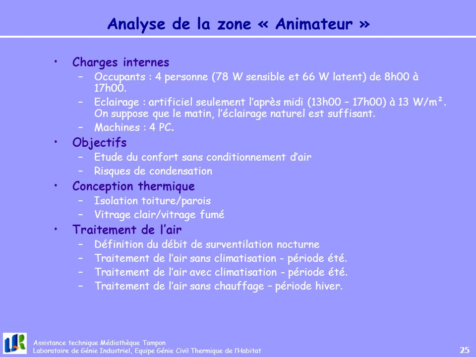 Analyse de la zone « Animateur »