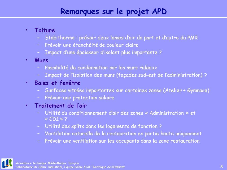 Remarques sur le projet APD