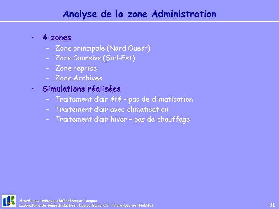 Analyse de la zone Administration