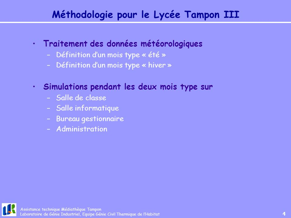Méthodologie pour le Lycée Tampon III