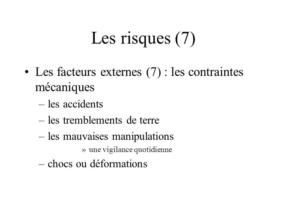 Les risques (7) Les facteurs externes (7) : les contraintes mécaniques
