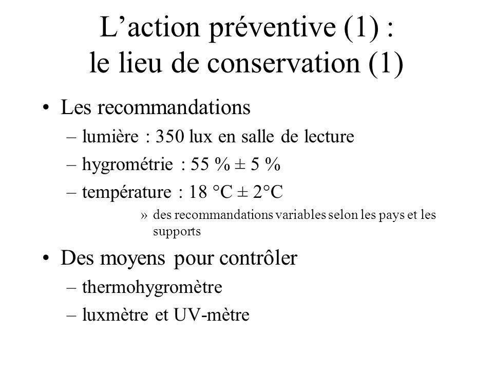 L'action préventive (1) : le lieu de conservation (1)