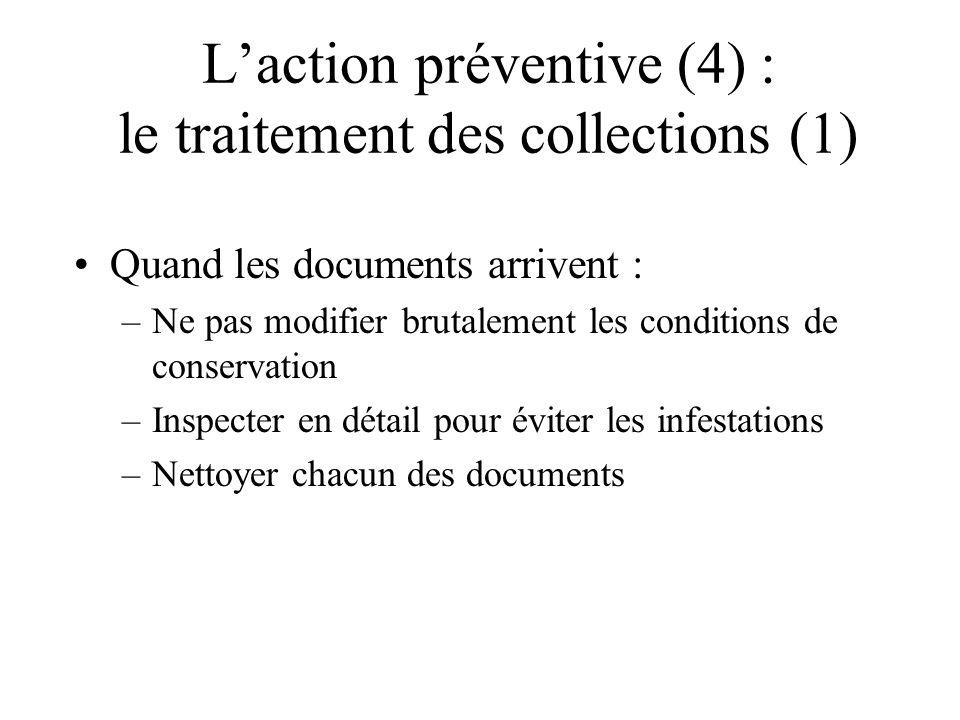 L'action préventive (4) : le traitement des collections (1)