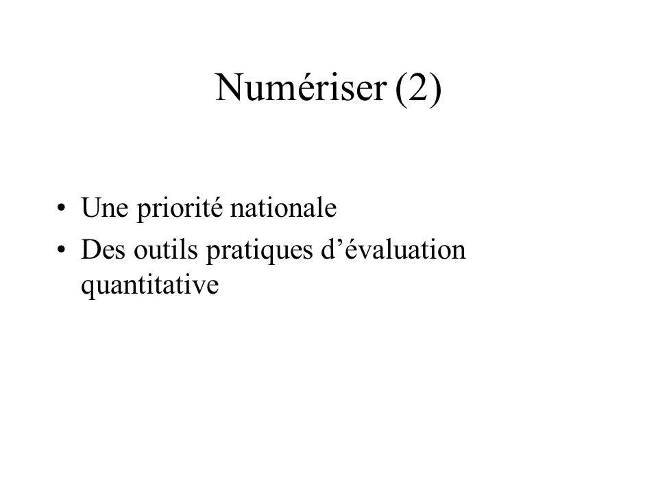 Numériser (2) Une priorité nationale