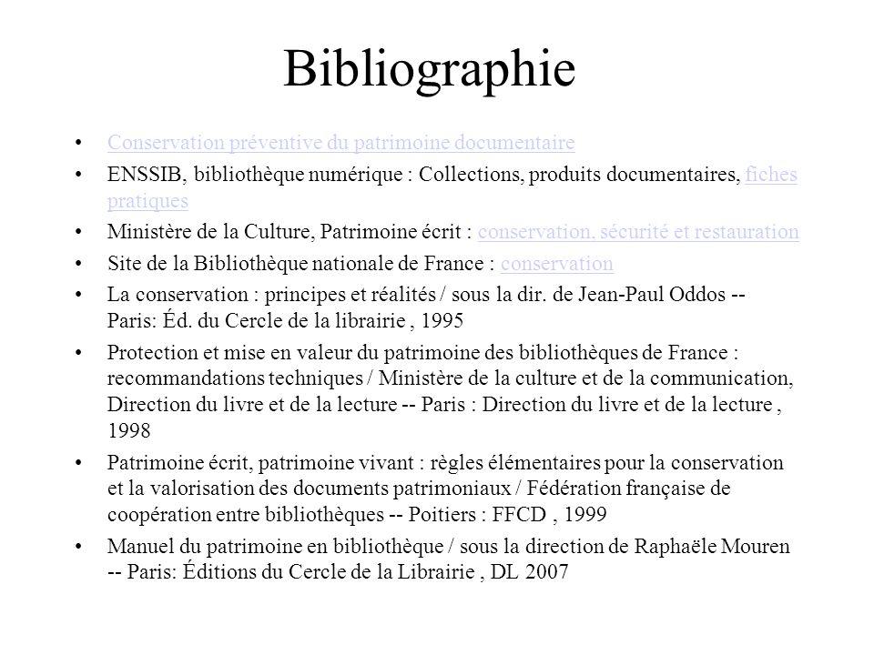 Bibliographie Conservation préventive du patrimoine documentaire