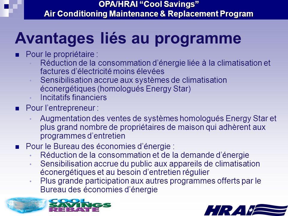 Avantages liés au programme
