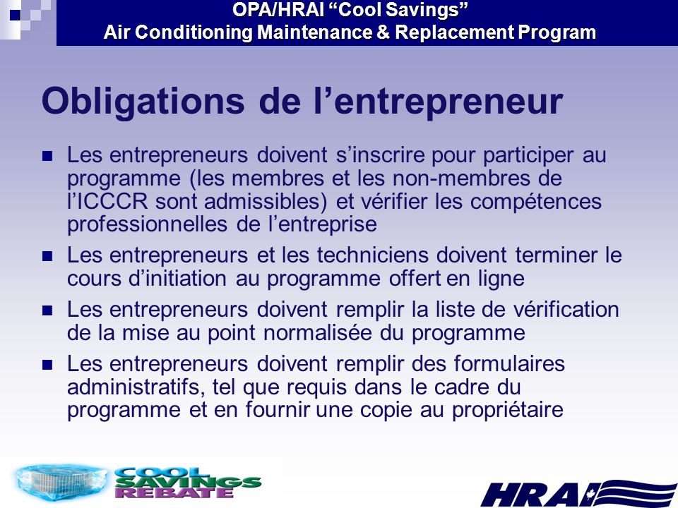 Obligations de l'entrepreneur