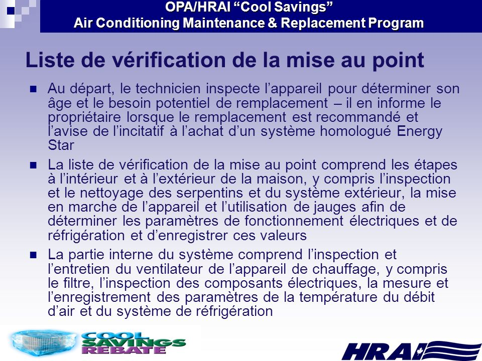 Liste de vérification de la mise au point