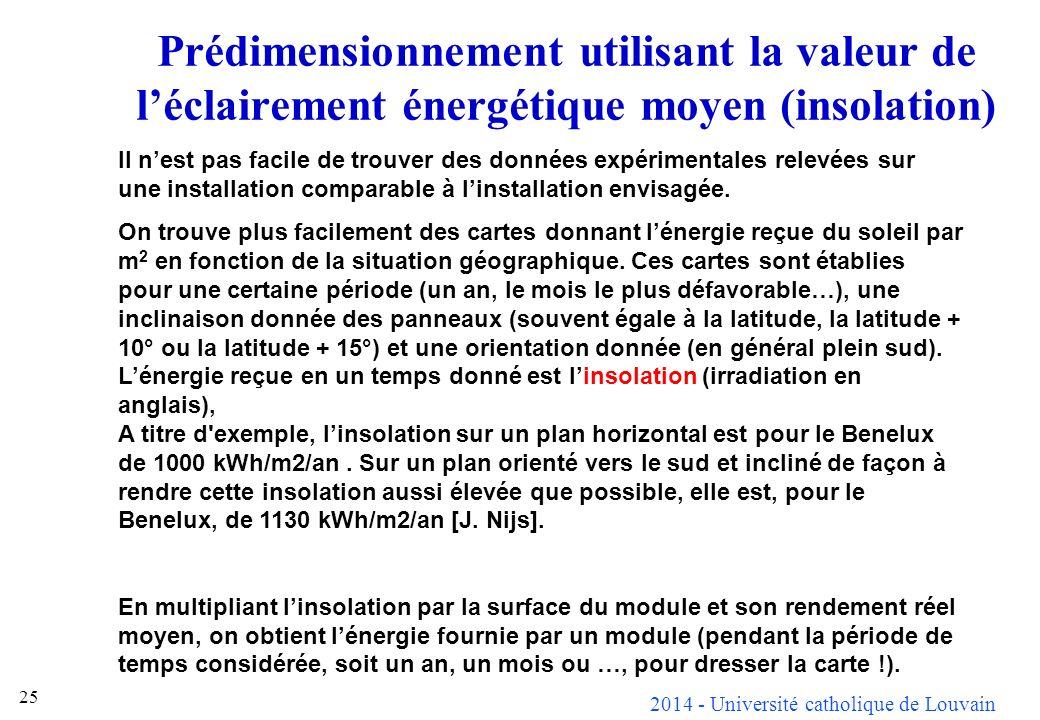 Prédimensionnement utilisant la valeur de l'éclairement énergétique moyen (insolation)