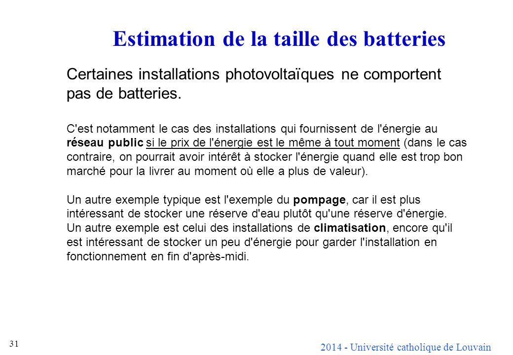 Estimation de la taille des batteries