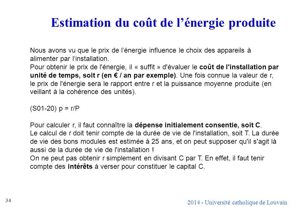 Estimation du coût de l'énergie produite