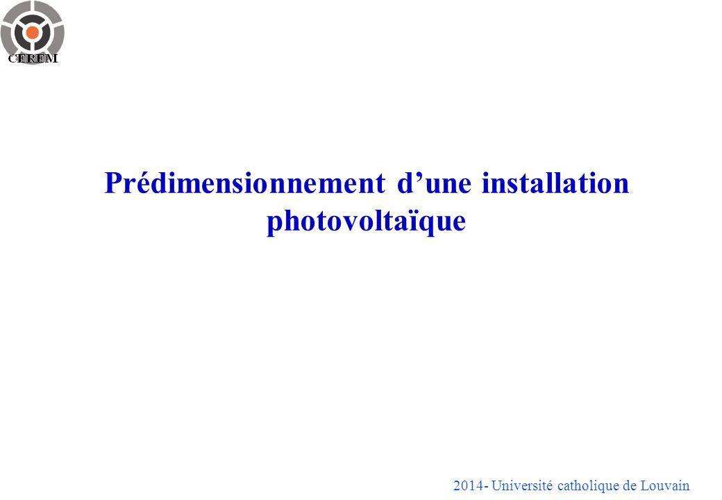 Prédimensionnement d'une installation photovoltaïque