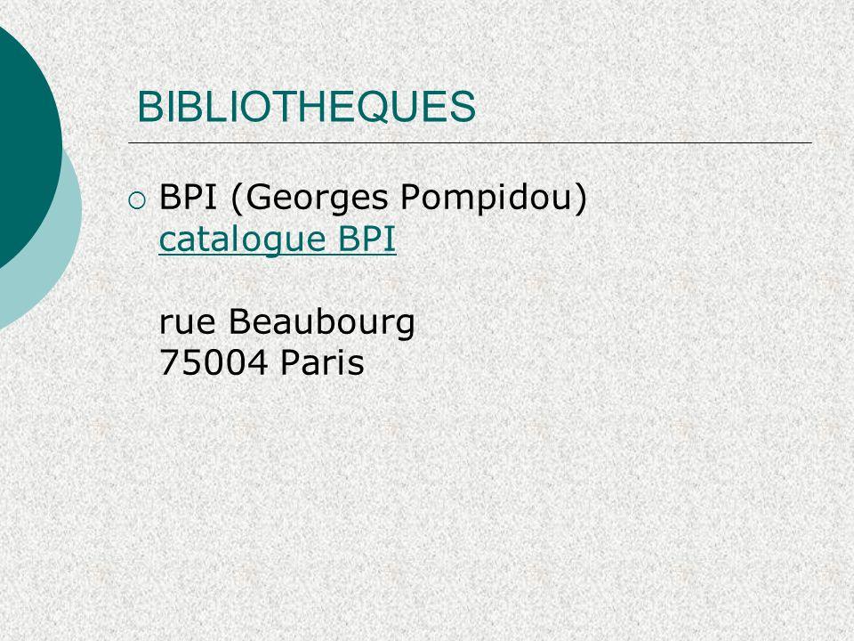 BIBLIOTHEQUES BPI (Georges Pompidou) catalogue BPI rue Beaubourg 75004 Paris