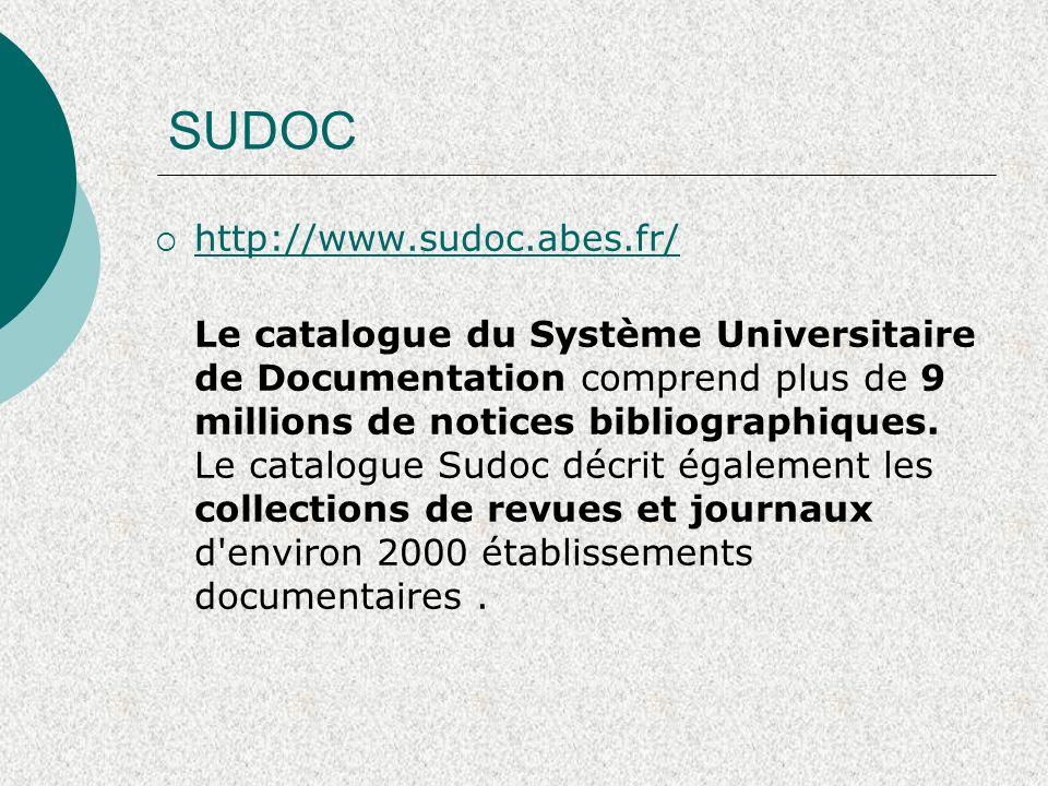 SUDOC http://www.sudoc.abes.fr/