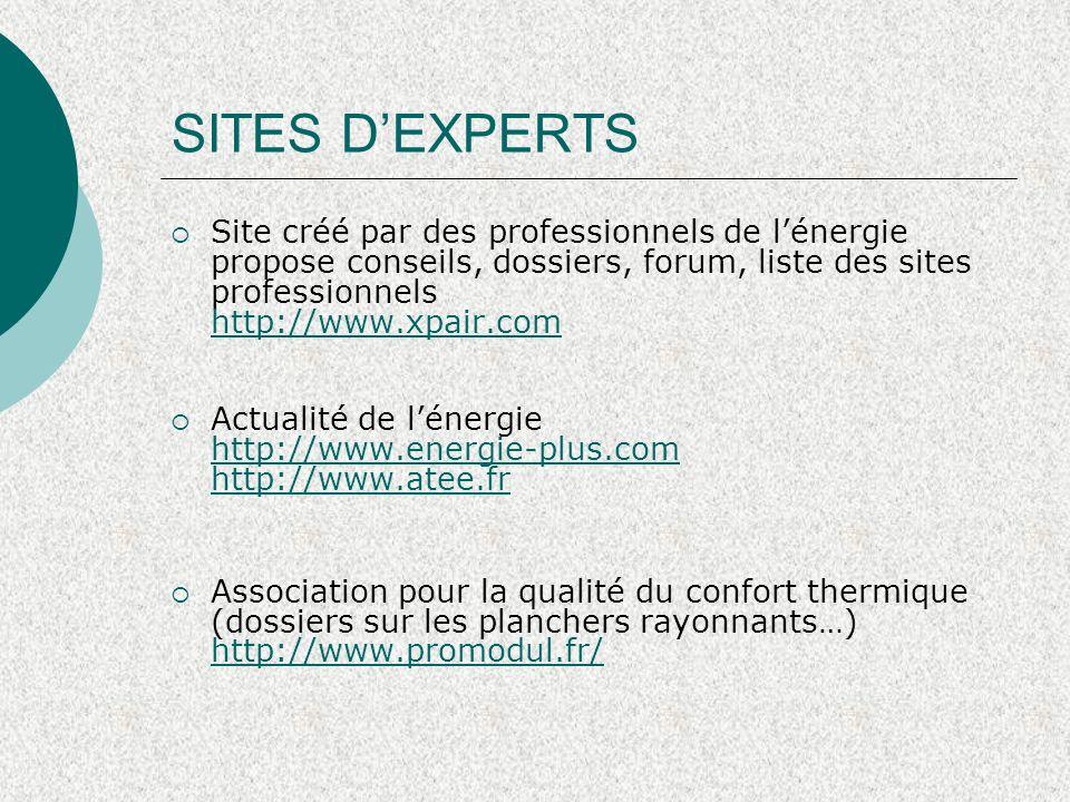 SITES D'EXPERTS Site créé par des professionnels de l'énergie propose conseils, dossiers, forum, liste des sites professionnels http://www.xpair.com.