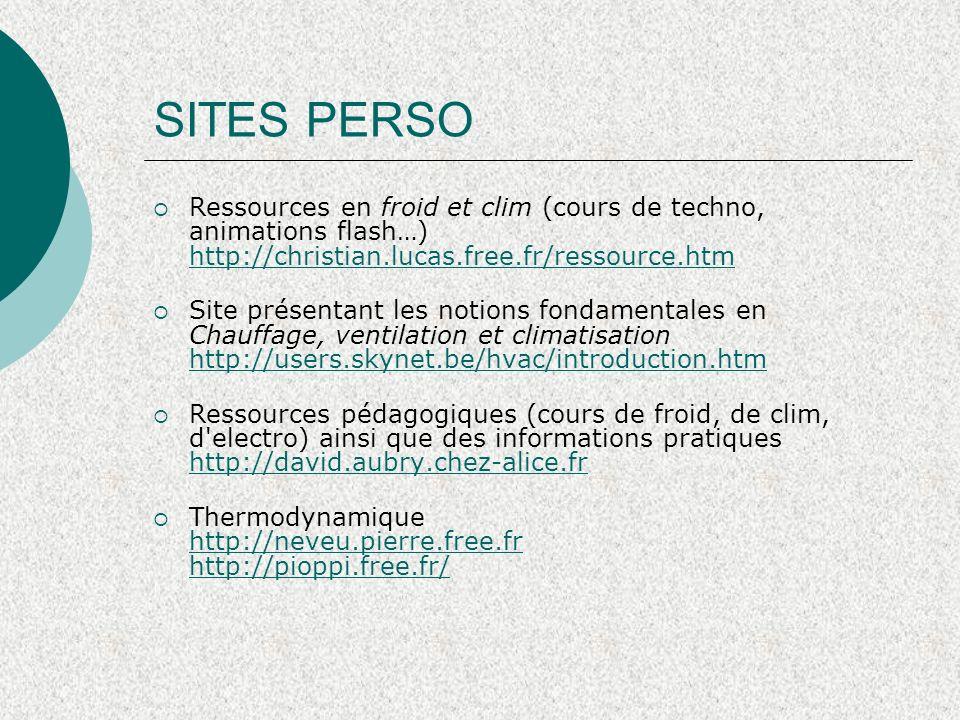 SITES PERSO Ressources en froid et clim (cours de techno, animations flash…) http://christian.lucas.free.fr/ressource.htm.