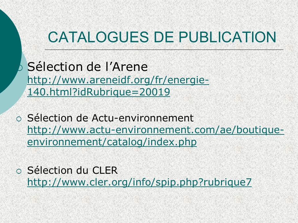 CATALOGUES DE PUBLICATION