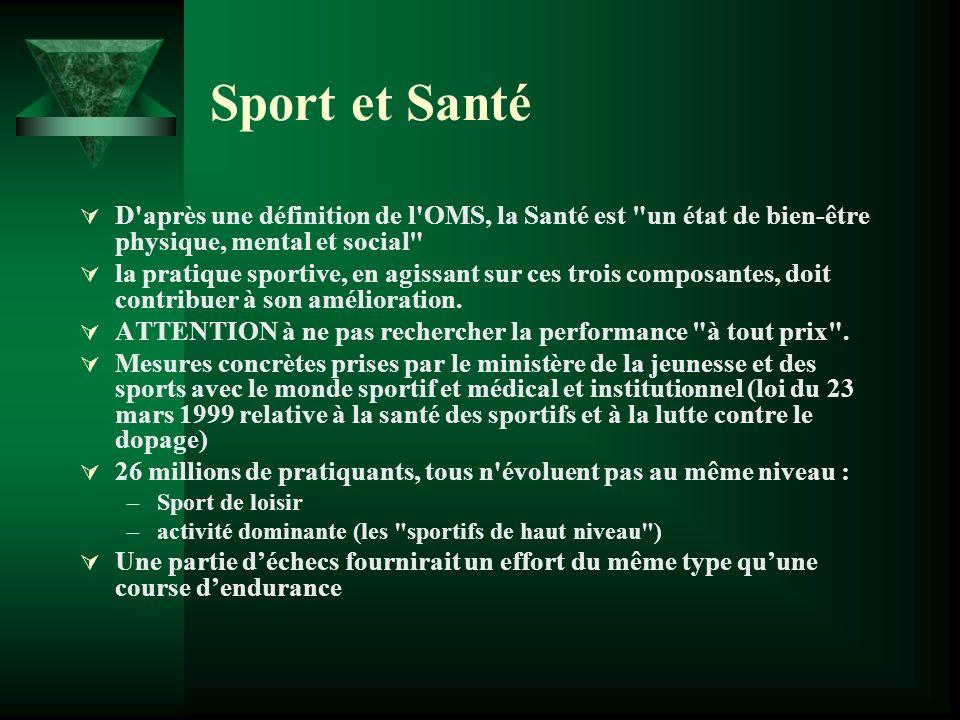 Sport et Santé D après une définition de l OMS, la Santé est un état de bien-être physique, mental et social