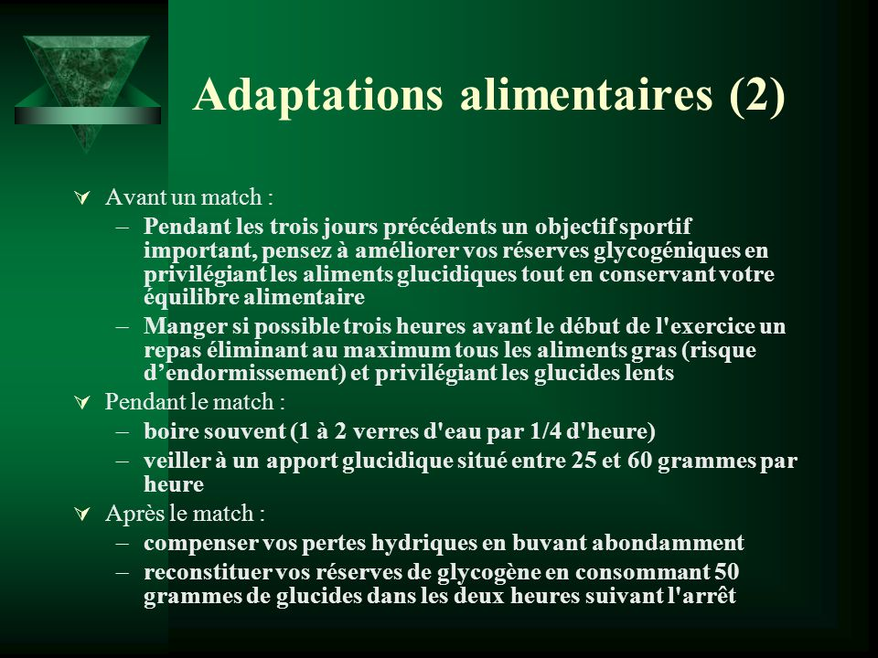 Adaptations alimentaires (2)