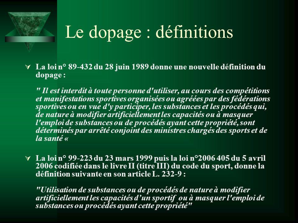 Le dopage : définitions