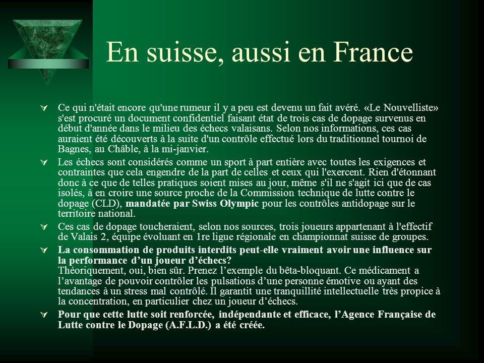 En suisse, aussi en France