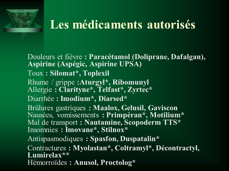 Les médicaments autorisés