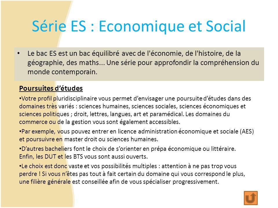 Série ES : Economique et Social