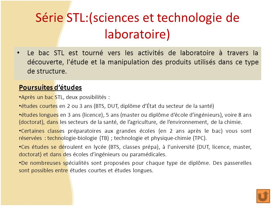Série STL:(sciences et technologie de laboratoire)