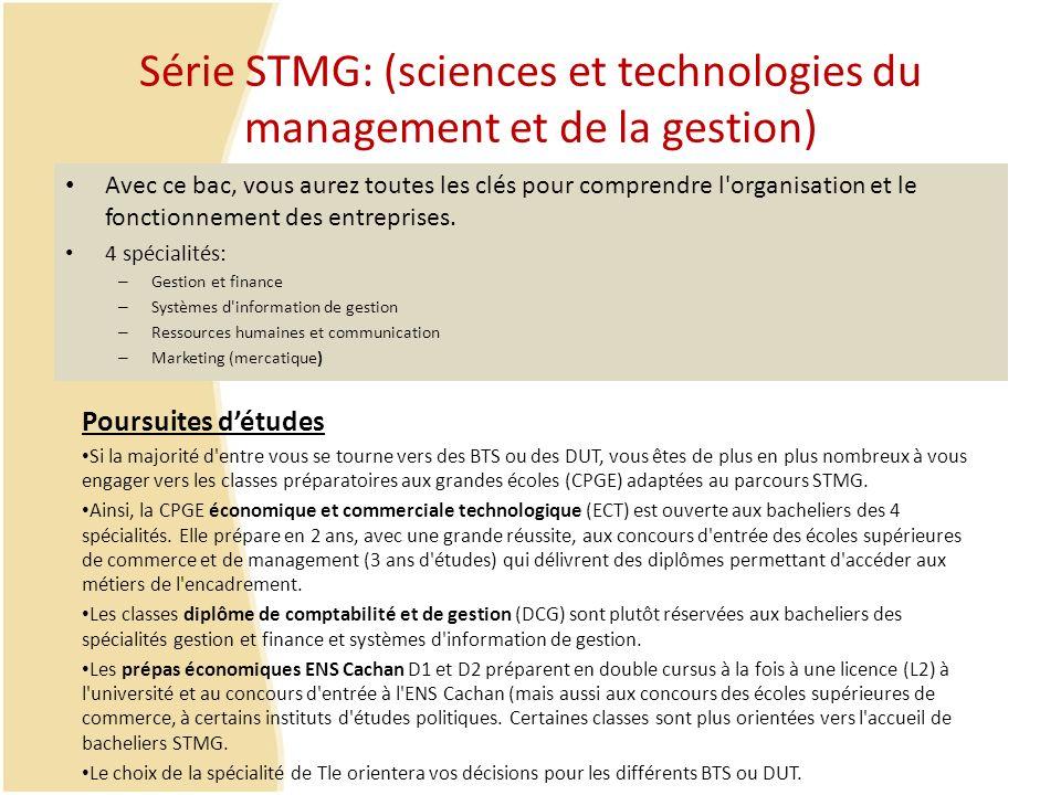 Série STMG: (sciences et technologies du management et de la gestion)