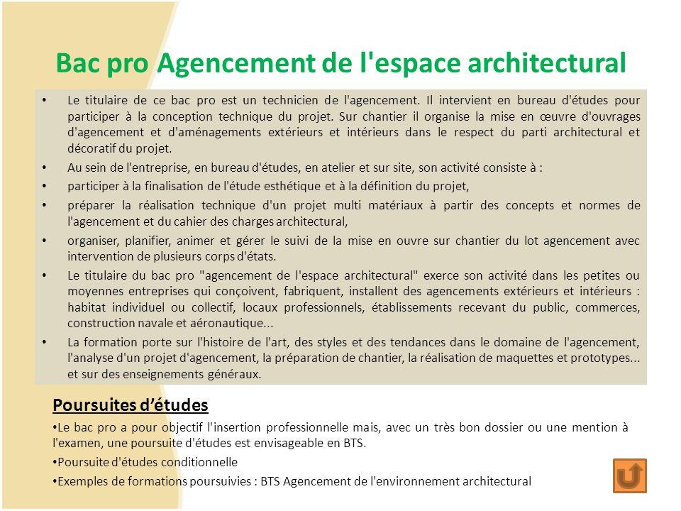 Bac pro Agencement de l espace architectural