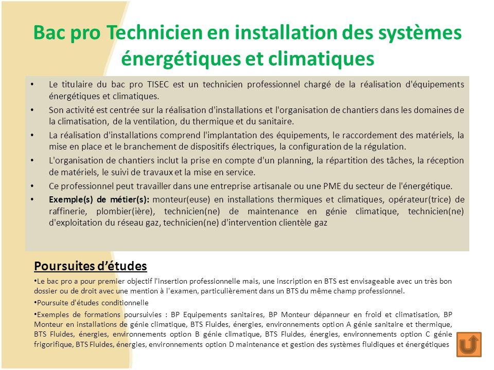 Bac pro Technicien en installation des systèmes énergétiques et climatiques
